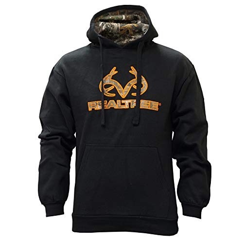Staghorn Realtree Men's Fleece Applique Hoodie, Black, X-Large