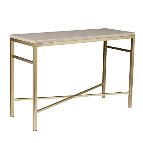 (Faux Stone Console Table - Matt Brass Metal Frame - Glam Style Décor)