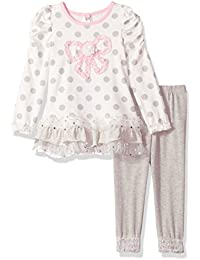 Little Girls' 2 Piece Polka Dot Butterfly Shirt and Pant