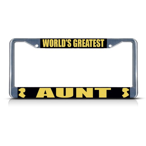 Fastasticdeals World's Greatest Aunt Metal Heavy Duty License Plate Frame Tag (Best Fastasticdeals Aunts)