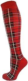 Knee High Long Socks Plaid Design