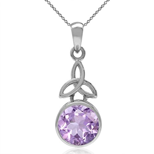 2.54ct. 9MM Natural Amethyst 925 Sterling Silver Triquetra Celtic Knot Pendant w/18 Chain Necklace