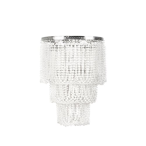 Tadpoles Pearlized Beaded Triple Layer Shade, Small, White, Chandelier Style