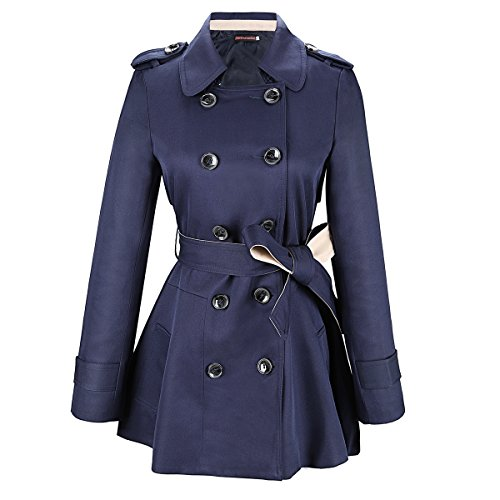 Double Breasted Long Coat - JNTworld fashion Slim double-breasted long trench coat thin woman Outerwear, bust 88cm tag Small, Blue