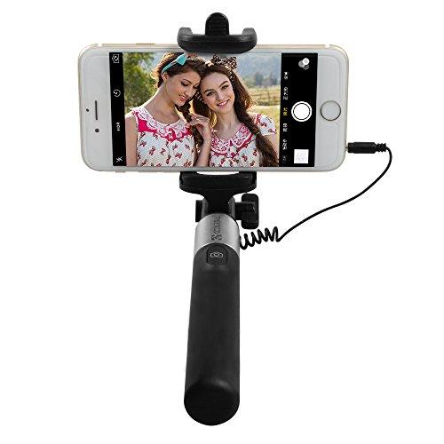 Coolreall(TM) Selfie Stick Stange Stab mit Kabel(Ohne Blutooth) für iphone 6/ iPhone 6 Plus/ 5S,Samsung Galaxy S6/S5/S4(Schwarz)