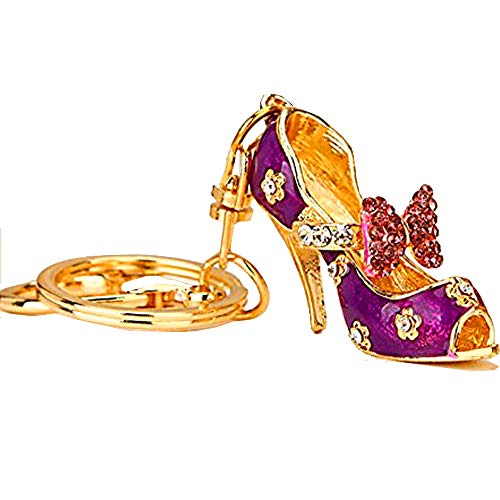 Reizteko Women's Gold Plated Crystal Rhinestone Butterfly Knot High Heels High Heel Shoe Keychain Pendant Keychain Charms Gift (Purple)