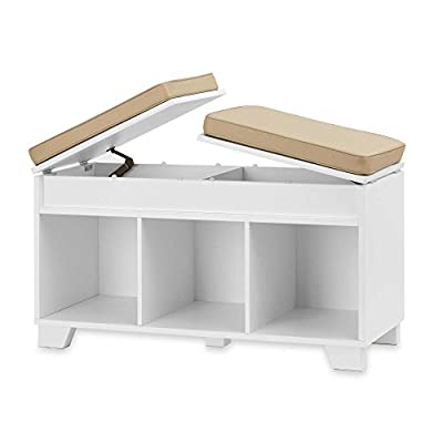 Real Simple White Split Top Cushioned Seating Storage Bench - Comfortable fabric cushioned top provides a convenient seating area Seating doubles as a hinged, split top lid that opens to reveal two hidden storage compartments - one under each seat Hidden hardware maintains a clean seamless look - entryway-furniture-decor, entryway-laundry-room, benches - 41eRjvxt4TL. SS400  -