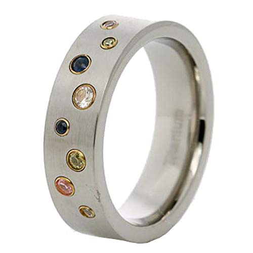 FlameReflection 7mm Men's Titanium Ring Wedding Band Multi Color Cubic Zirconia Round Bubble Design size 9 SPJ