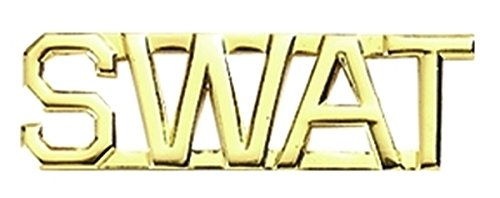 SWAT - Die Struck Letters Insignia, 2 Posts and Clucth Backs (Sold in Pairs) Metal Letters in Gold Plating, 3/8