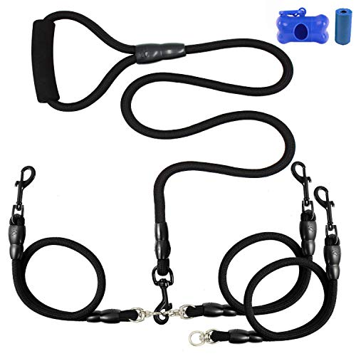 Heavy Duty Dual Dog Leash /Triple Dog Leash,360°Swivel No Tangle Double Dog Walking Training Leash,2-way&3-way interchangeable Lead with Hand-protected Handle Waste Bag Dispenser for Two/Three Dogs