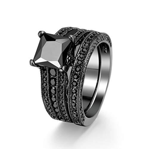 Double Fair 2 Pcs Princess Cut Wedding Bands Engagement Promise Rings (Black Gold-Black, 9)