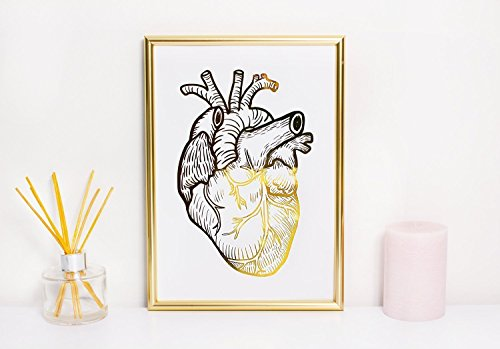 Gold Foil Anatomy Poster Heart, Gold Foil Print, Anatomy Print, Wall Decor, Wall Art,