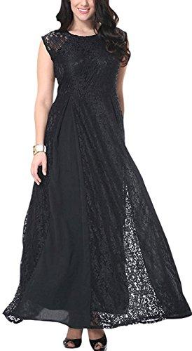 Miltoss Women Round Neck Sleeveless Plus Size Lace Dress Black (70s Dress Up Ideas)