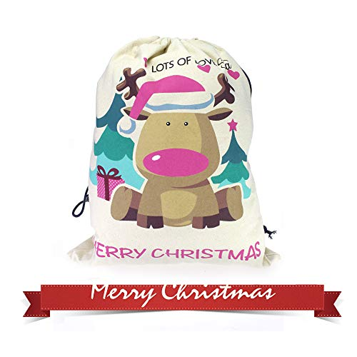 Wendsim 25x19.7inch Thicker & Better Christmas Santa Sack Gift Bag Made by 12 Ounce Cotton Canvas (Pink)