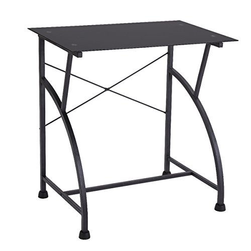 FIVEGIVEN Small Computer Study Desk for Small Spaces Glass Metal Black Modern Simple Desk 29.5 Inch