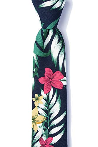 Hawaiian Necktie - Men's Bedford Tropical Hibiscus Flowers & Palm Leaves Skinny Narrow Tie Necktie