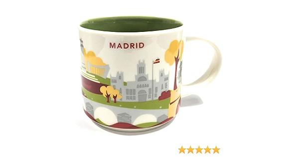 Starbucks Usted Está Aquí Yah Taza De La Ciudad - Madrid, España. 14 Oz Blanco: Amazon.es: Hogar