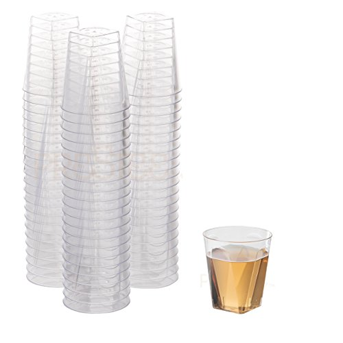 DRINKET CLEAR PLASTIC SHOT GLASSES 2 Oz - Disposable Shot Glasses Bulk - Wine Tasting Cups - Small Plastic Tumbler - Square Shooter, Whiskey Mini Shot Cups - small plastic cups bulk - 100 Pack. (Two Glass Oz)