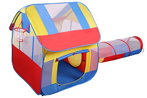 Utex Big Children's Playhouse with Tunnel for Boys/Girls for Indoor/Outdoor with Stakes - Popup Play Tent