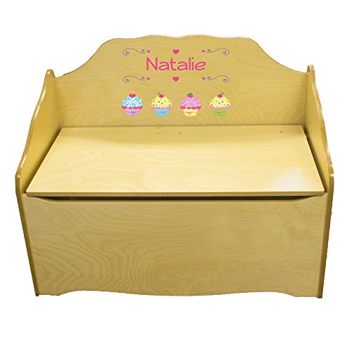 Personalized Cupcake Childrens Natural Wooden Toy Chest by MyBambino