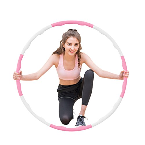 NEOWEEK Hula Hoop for Adults-Weighted Hula Hoop for Exercise-2lb,8 Section Detachable Design-2018 Professional Soft Fitness Hula Hoop (Pink-White) Review