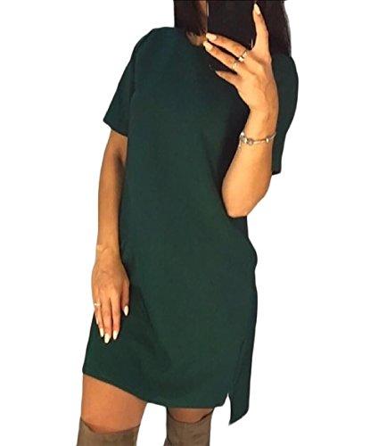 Coolred-femmes Couleur Pure De Base O-cou Détendue Courte À Manches Courtes Vert Robe