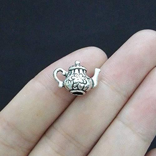 6 Teapot Charms, 3D, Antique Silver Tone (1A-61)