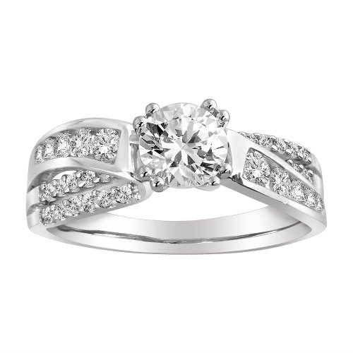 IGI Certified 14k White Gold .90 ct Round-Cut-Cut Center Diamond By-Pass Engagement Ring (1.45 cttw, H-I Color, I1-I2 Clarity), Size 6