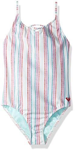 Roxy Big Girls' Little Mermaid Treasure Stripe One Piece Swimsuit, wan Blue, 10 ()