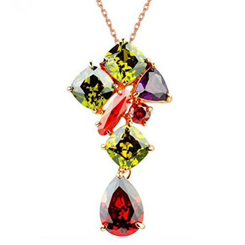 Women's Bohemian Multi Color Crystal Statement Necklace Magic Life Birthstone Jewelry (D)