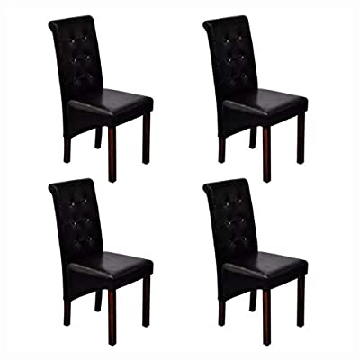 HomyDelight Kitchen & Dining Room Chair, 4 Scroll Back Artificial Leather Wooden Dining Chairs Black