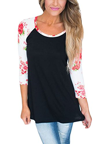 - FARYSAYS Women's Casual 3 4 Sleeve Floral Print Crew Neck Blouses Tops and Shirts  Red (US 18-20)XXL