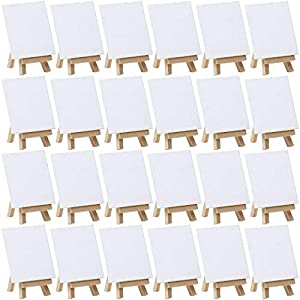 MEEDEN 24Pack 4 by 4 Inch Mini Canvas Panels Combined with 3 by 5 Inch Beech Wood Easels Set for Paintings Craft Small Acrylics Oil Projects