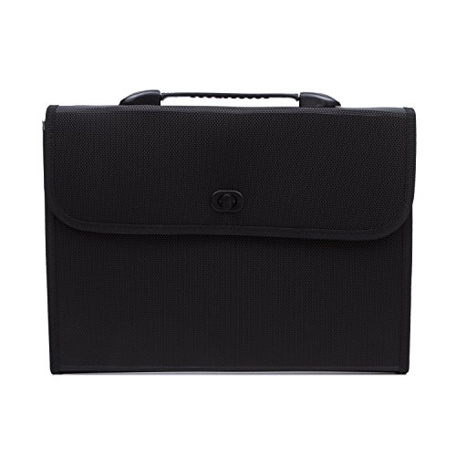 Expandable Portable Hand-Held Accordion File Document Folder File Organizer with Buckle A4 and Letter Size 13 Pockets Black