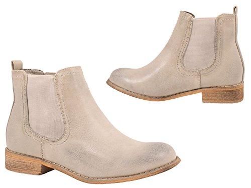 Damen Boots Stiefel Elara Paris Chelsea Grau Stiefeletten Bequeme Lederoptik Flache v7wdaxd
