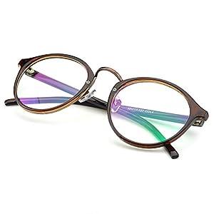 PenSee Vintage Inspired Eyeglasses Frame Round Circle Clear Lens Glasses (Tea brown)