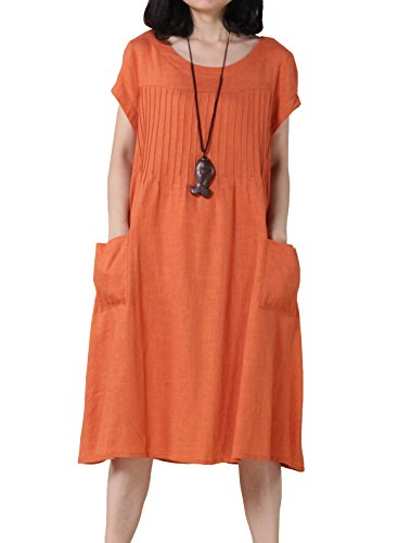 (Mordenmiss Women's Cotton Linen Tunic Dress Pleated Short Sleeve Sundresses Summer Daily Pullover with Pockets (X-Large, Orange))