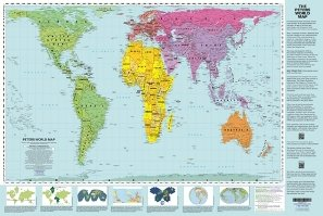 Peters Equal Area World Map 24x36 inches; with panels - laminated
