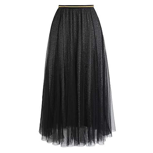 Chicwish Women's My Secret Weapon Glitter Black Layered Mesh Ballet Prom Party Tulle Tutu A-line Maxi Skirt (Secret Skirt)