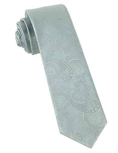 Twill Clip (The Tie Bar Twill Paisley 100% Woven Silk Spearmint Skinny Tie)