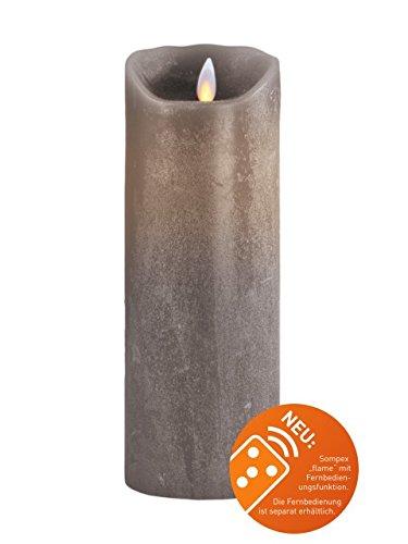 Sompex 36542 Flame Echtwachs LED Kerze, Fernbedienbar und integrierter Timer, taupe, 8 x 23 cm