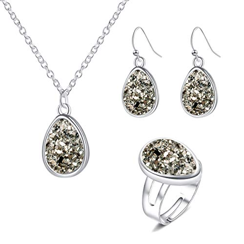 MissNity Colorful Faux Druzy Jewelry Set Drusy Necklace Dangle Earring Ring Silver Plated Teardrop Pendant (B02-Grey)