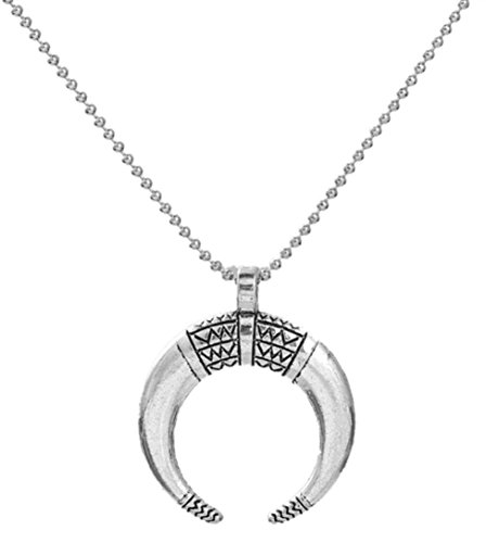 StylesILove Boho Chic Necklace Antique Silver Crescent Moon Double Horn (Tribal Horn Necklace)
