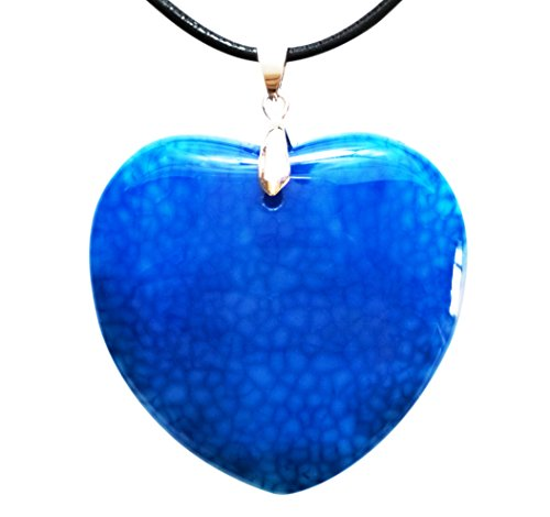 Rectangular Shaped Pendant (Heart Shaped Agate Pendant that is a Token for Love and Represents ones Imagination & Abundant Emotions, with 2 Necklace Cords 18