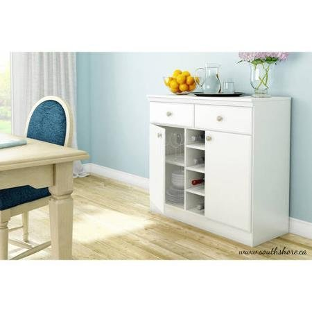 South Shore Morgan Storage Console/Buffet,White Metal drawer slides by South Shore
