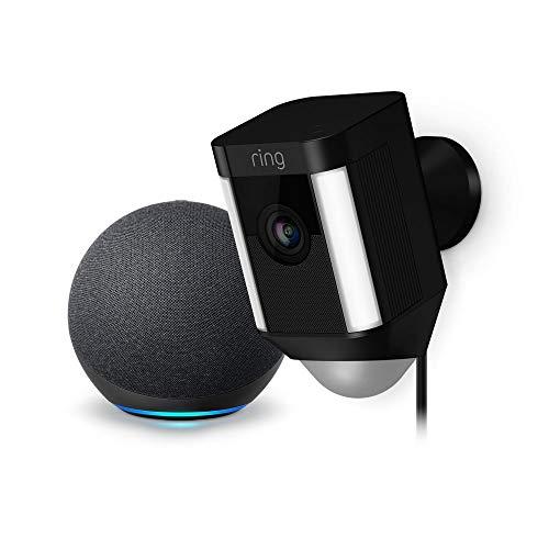Ring Spotlight Cam con cable: cámara de seguridad HD enchufada (negra) y Echo Dot (4.a generación)