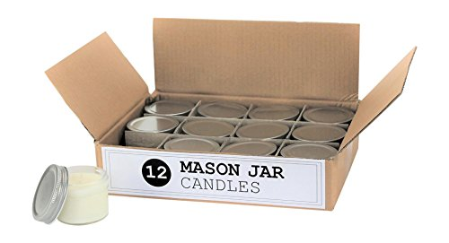 Set of 12 Bulk Wholesale Mini Mason Jar Candles - 4 Ounce - Perfect For Weddings, Restaurants, Gifts, Baby Showers