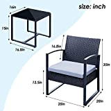 Viewee 3 Pieces Patio Rattan Sets, Modern Outdoor
