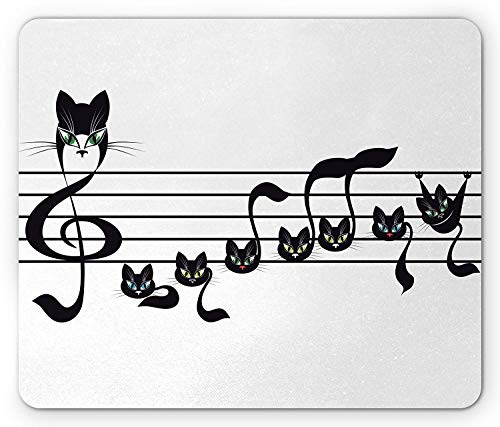 Halloween Kitty Gif - Music Mouse Pad, Notes Kittens Kitty