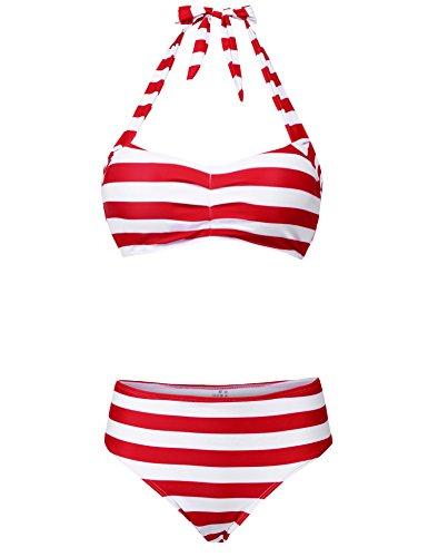 Avidlove Women Stripped Swimsuits High Waisted Swimswear Push up Bikini Set Red M
